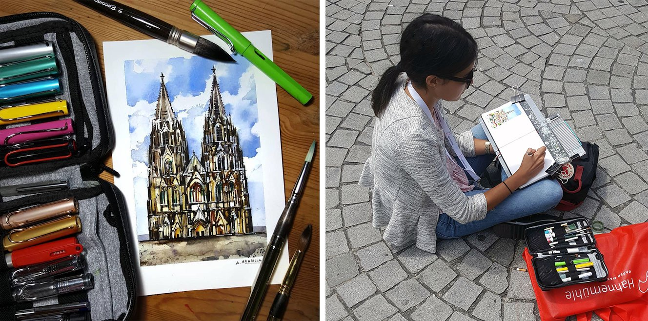 Alicia Aradilla sketching in pleine aire Sketch of French church