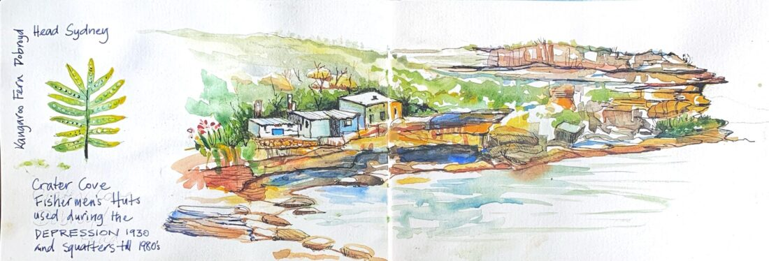 Travel journal sketch Crater cove
