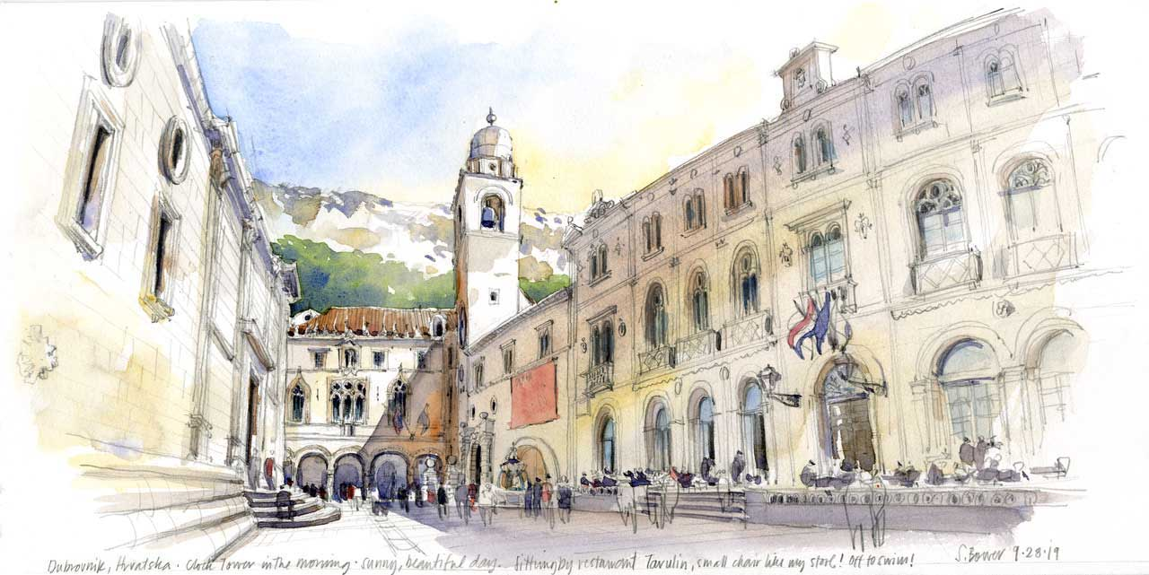 Stephanie Bower Dubrovnik Croatia sketching 2021