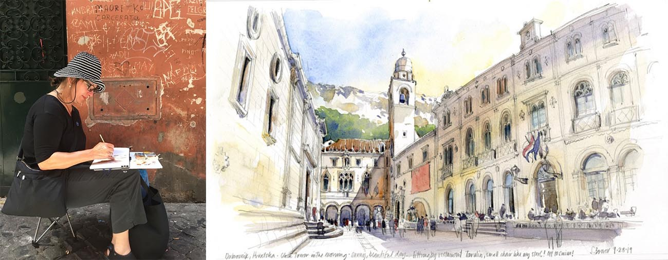 Stephania Bowers sketching Croatia Dubrovnik