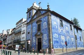Porto blue tiled church in Portugal