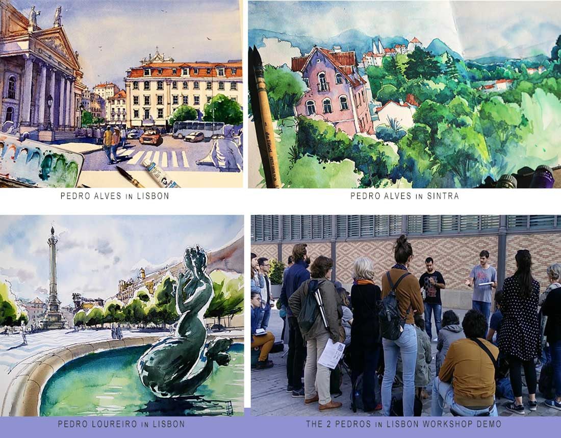 Lisbon Pedro Alves and Loureiro travel sketches